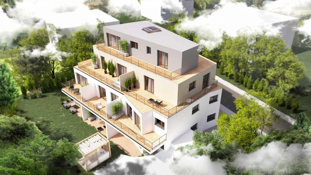 lp-wohnbau aussen aus der Vogelperspektive